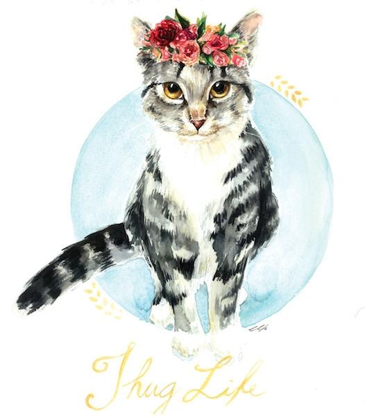 Thug Life - cat, cute, watercolor - cpicheco   ello