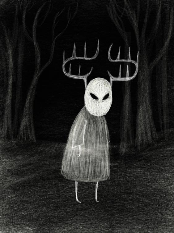 edge woods - creepy, illustration - beth-6270 | ello