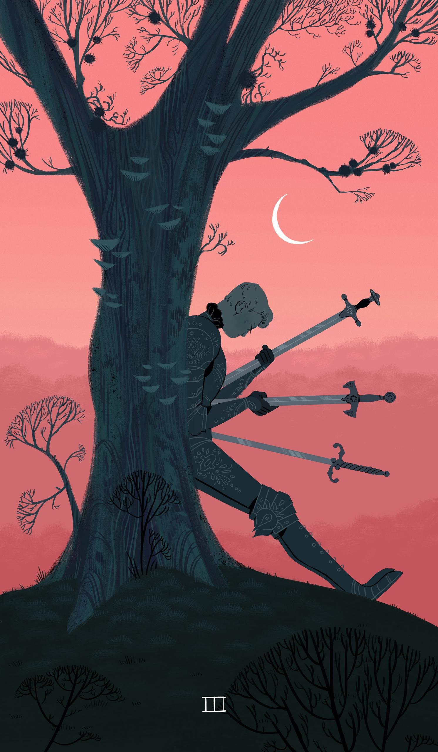 illustration, tarot, knight, witch - sarakipin | ello