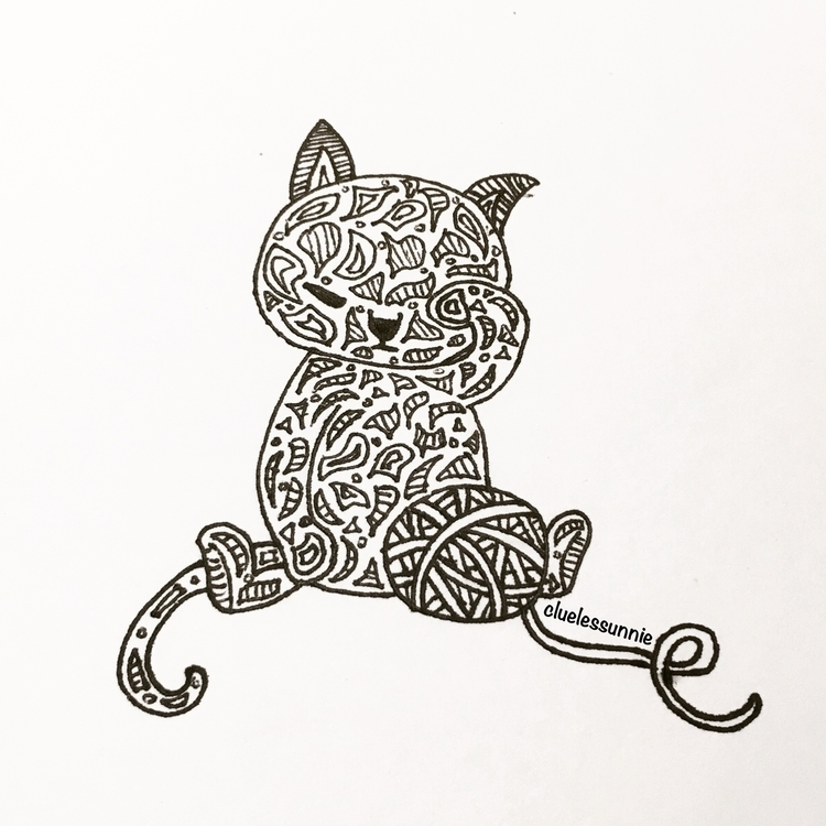 Kitten - illustration, drawing, penink - hanvone | ello