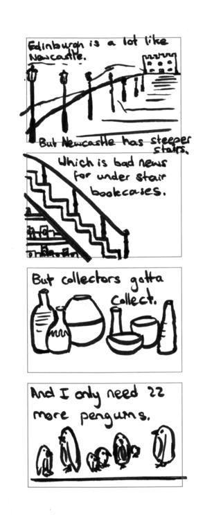 Bookshelf Stairs - sketchbook, brushpen - brittcoxon-9543 | ello