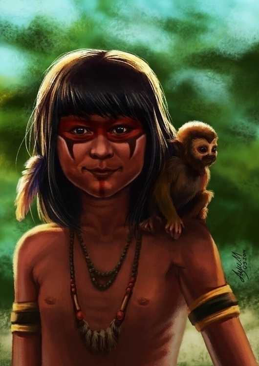 India Girl - illustration, painting - ayu-3119 | ello