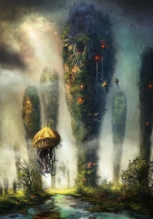 Fantasy landscape, cover Clarke - digitalhadz | ello