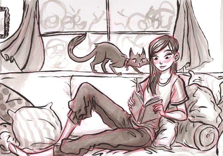 lazy day - illustration, ink, cats - susandrawsthings | ello