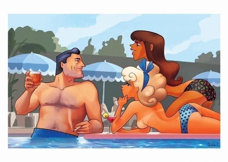 pool, summer, girls, madmen, vintage - christiansuarez | ello