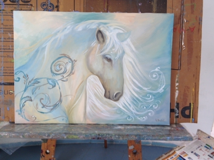 painting, horse, surreal, oilpainting - trojanpony | ello