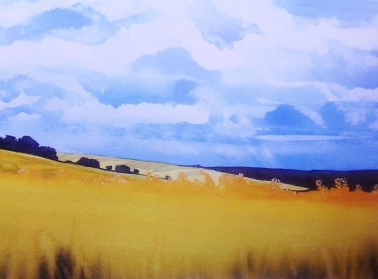 Wheat field - Watercolor - landscape - giulianobuffi | ello