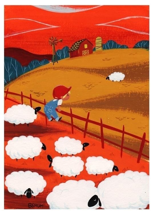 Sheep - gouache, painting, sheep - bshum | ello