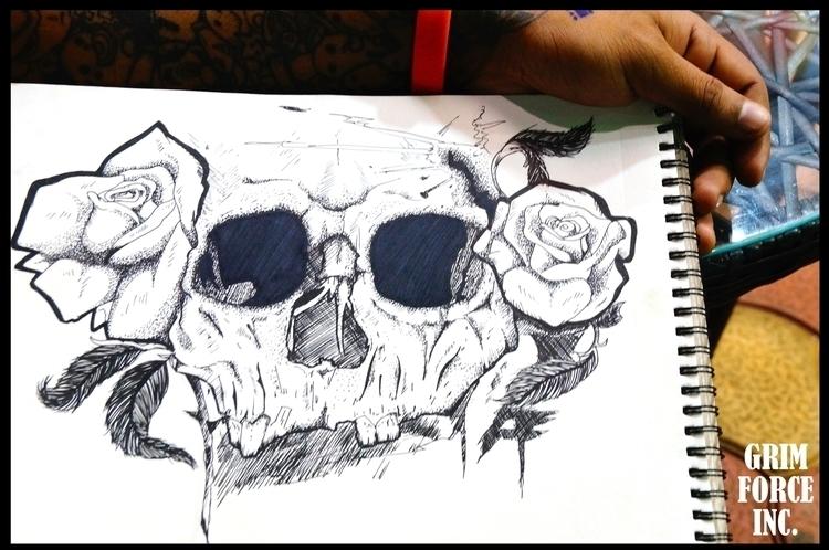 Skulls Roses. random design cro - adamaziz | ello