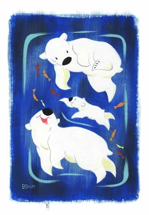 polar bear - gouache, painting, polarbear - bshum | ello