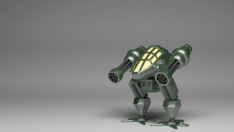 Green Mech - robot, mech, 3d, blender - alimayoarango | ello