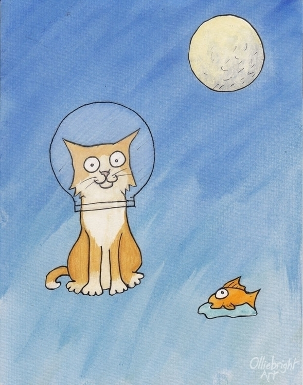 Catronaut - cat, cartoon, illustration - olliebright | ello