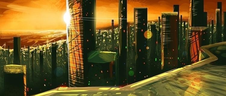 Futur city - conceptart, environment - jeebah | ello