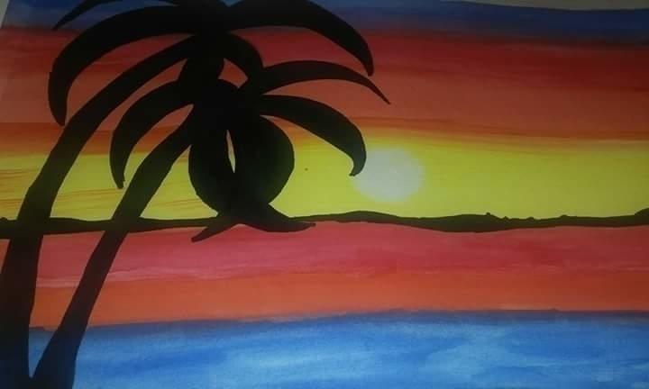 Tropical Sunset - painting, Watercolors - carmanpashawn | ello