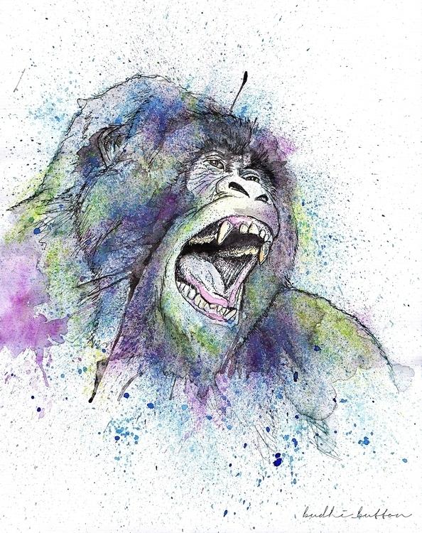 Gorilla, water colour - illustration - budhi | ello