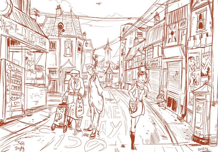 concept sketch Japan UK combine - jowybeanstudios | ello