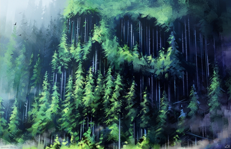 Dead forest - illustration, painting - ziiart | ello