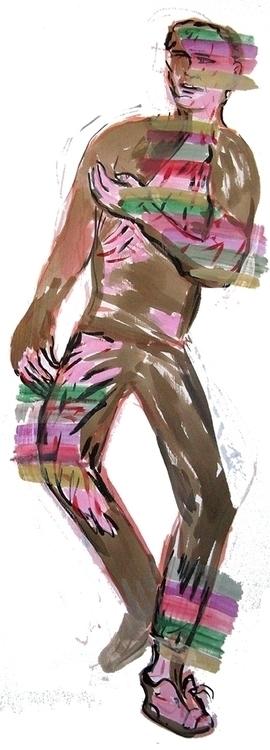 figures, acrylic paper - Walkin - frankcreber | ello