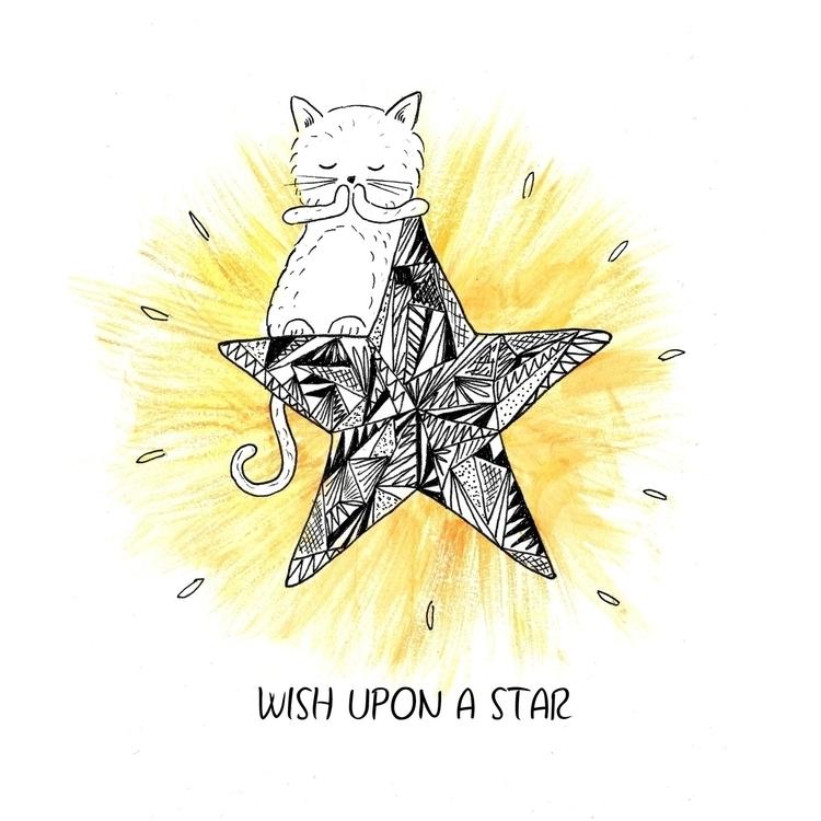 star - illustration, drawing, cat - laurabuckland   ello