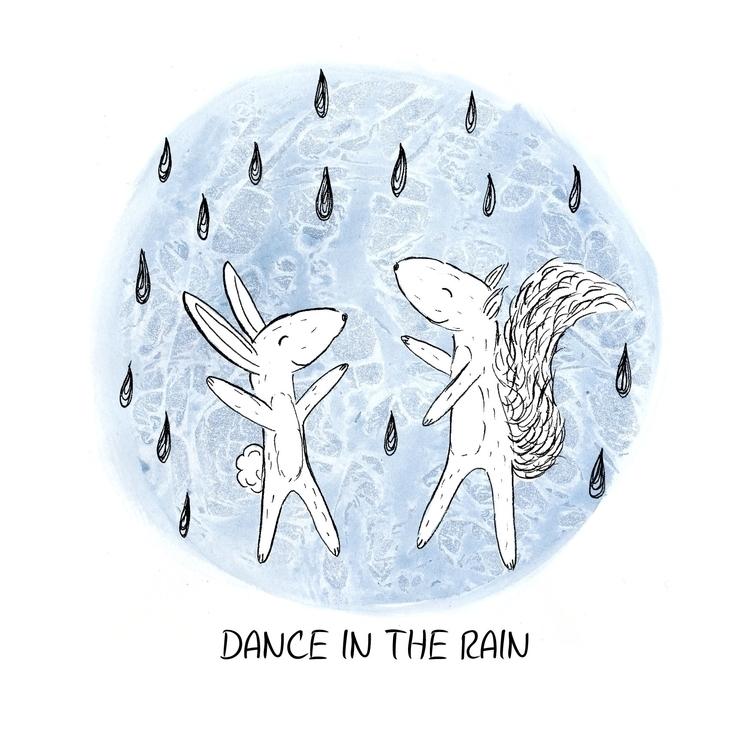 Dance rain - illustration, handdrawn - laurabuckland | ello