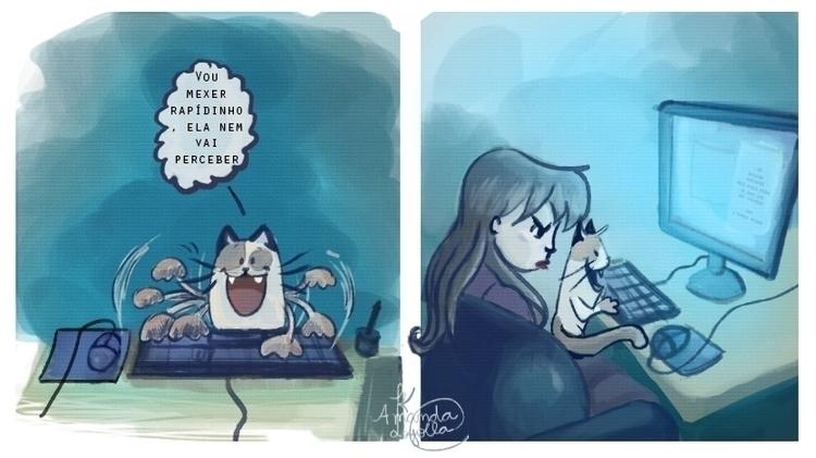 cat, comicstrips, computer, pet - amandaloyolla | ello