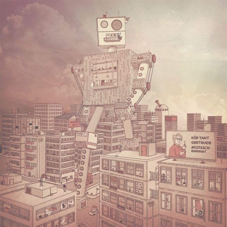 big robot - illustration, drawing - snarlik | ello