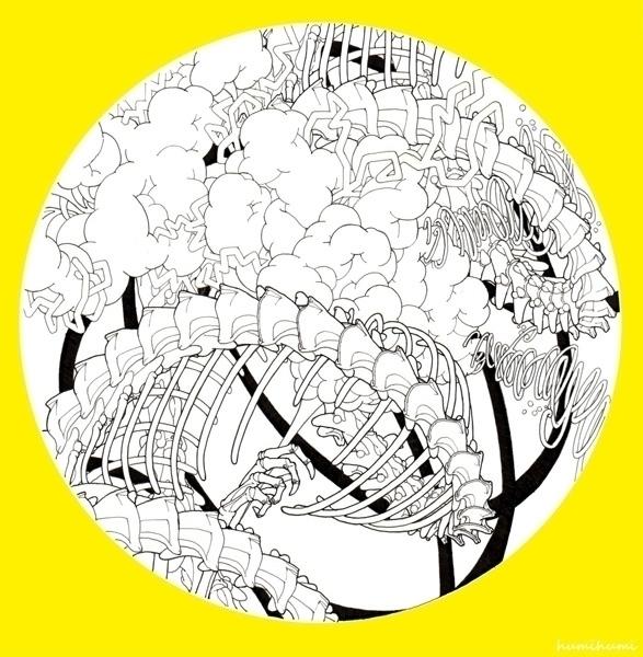 Double helix dragons - illustration - humi-1480   ello