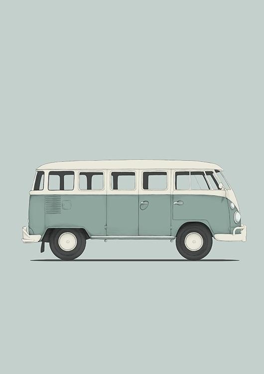 poster vw t1 - vwt1, vwvan, classiccar - poposter | ello