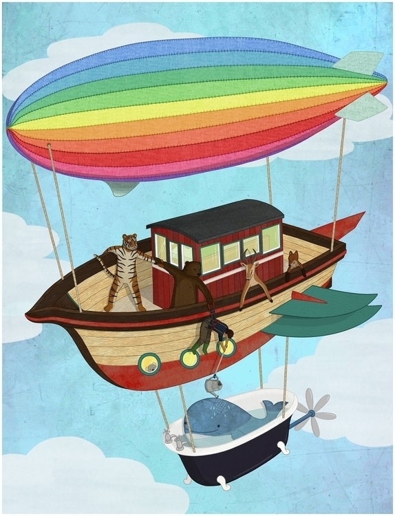 Sky Ark - zeppelin, boat, fantasy - lucyfarfort | ello