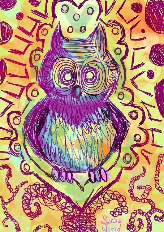 crazy, psicodelic, owl, painting - amandaloyolla | ello