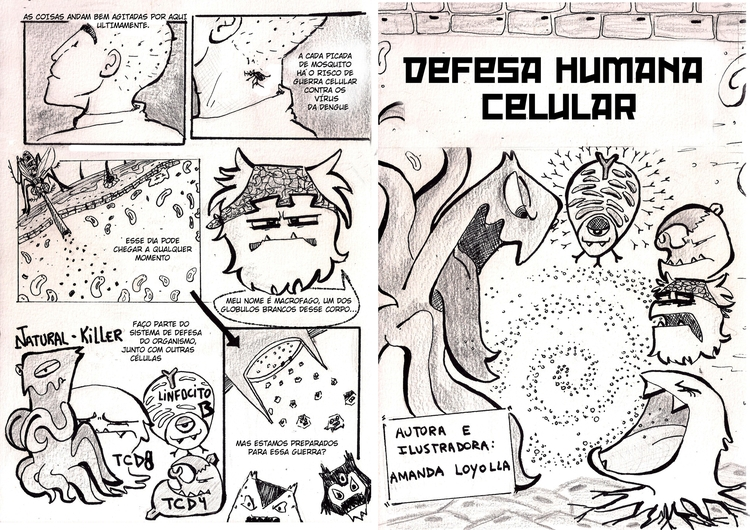 dengue, comics, cells, imunology - amandaloyolla | ello