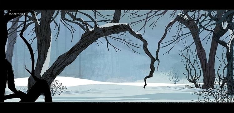 Winter. Personal work - background - artbythorhauge | ello