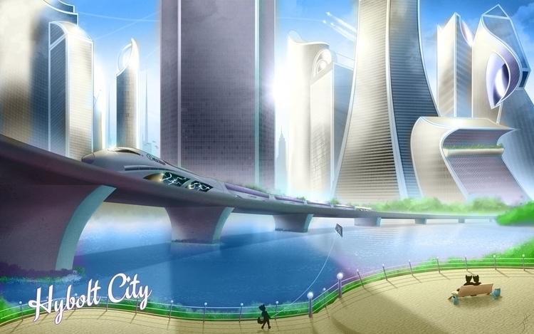 Hybolt City - illustration, cartoon - fxscreamer | ello