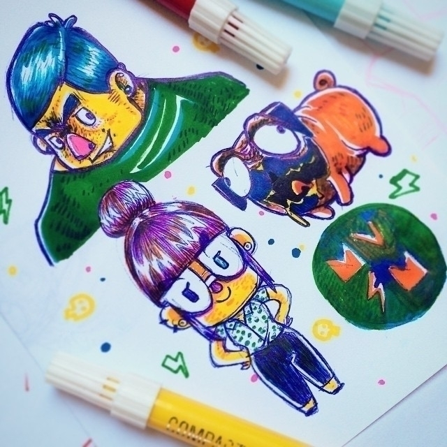 Characters doodles - illustration - marmotavsmilky | ello