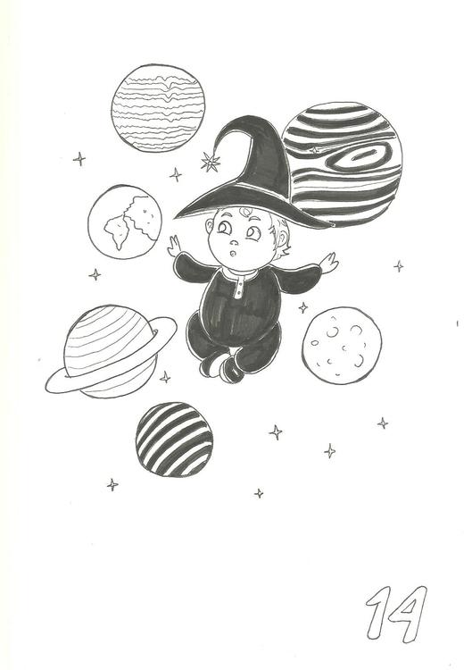 14. Space Witch - illustration, inktober2016 - hotshots2000 | ello