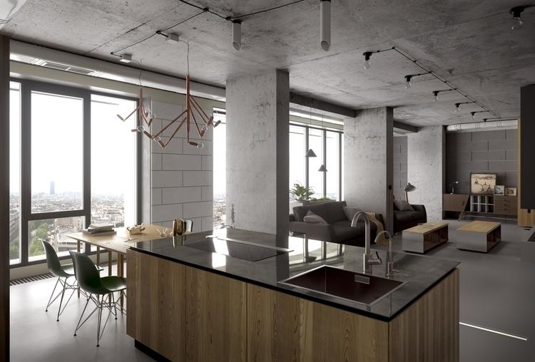 Concrete interior - design, 3d, architecturalvisualisation - romankiiashko | ello