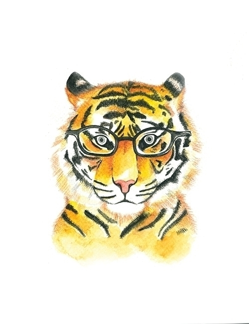 tiger represents face - watercolor - diepduong | ello