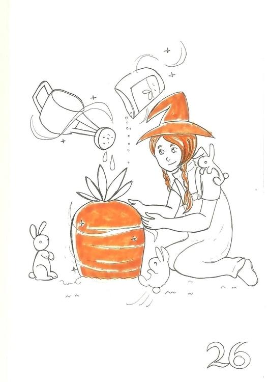 26. Farm Witch - illustration, inktober2016 - hotshots2000 | ello