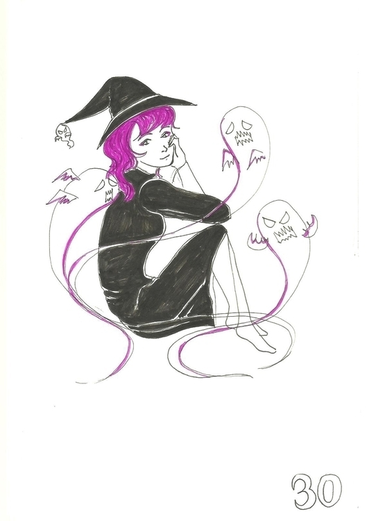 30. Ghost Witch - illustration, inktober2016 - hotshots2000 | ello