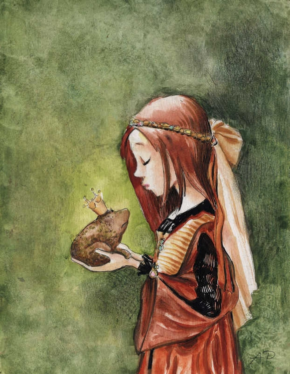 Kissing Frog - illustration, painting - joannapasek | ello