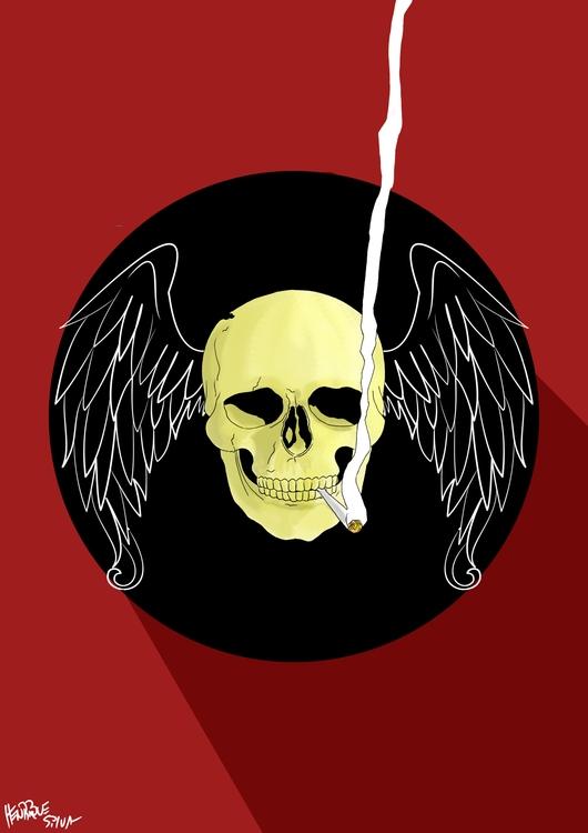 Flying Skull - illustration, painting - henriquesilva-1040 | ello