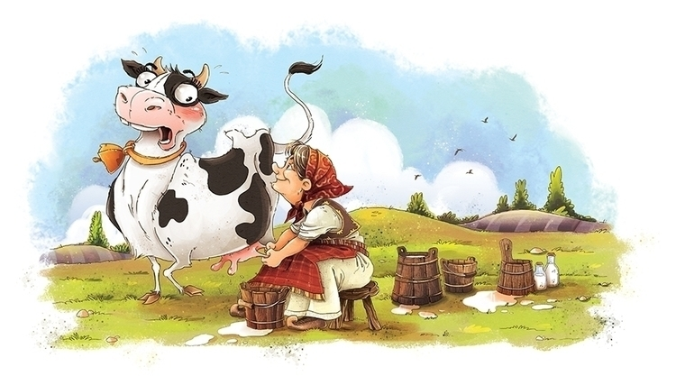 illustration, cow, funny, milk - marinaveselinovic | ello