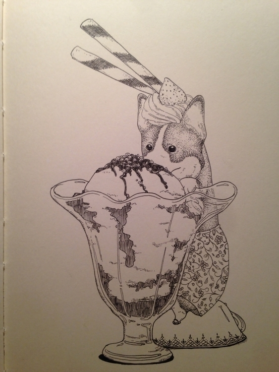 Corgi Sundae - illustration, drawing - sheenahsinlee | ello