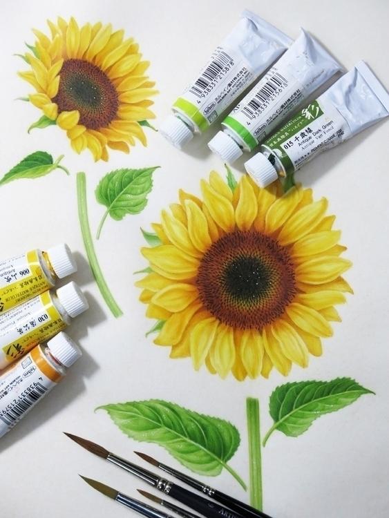 Sunflower - botanicalart, botanical - karenkluglein | ello