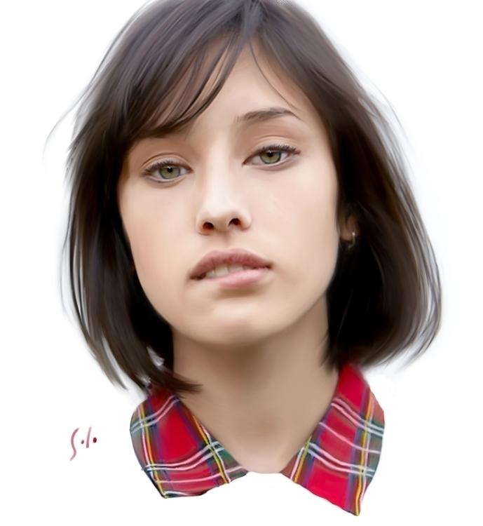 coy painting solo - woman, portrait - soloart-1219 | ello