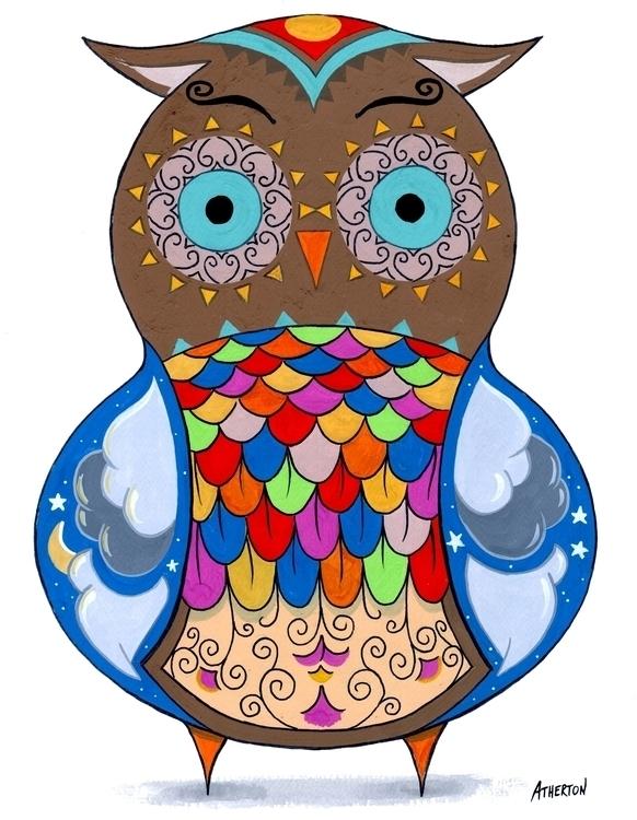 Design owl, painted gouache - painting - jimatherton | ello