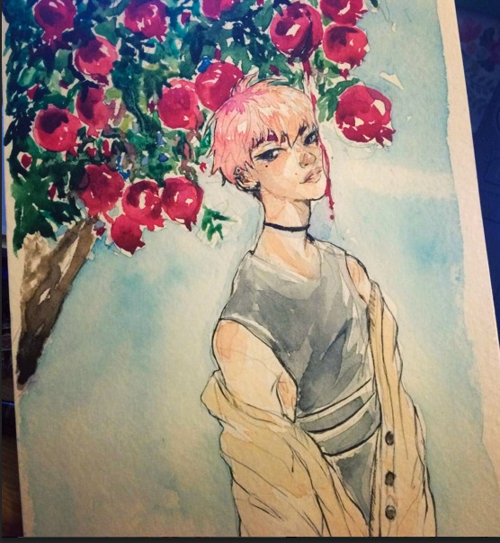 Pomegranate boy - watercolor, characterdesign - imaniking | ello
