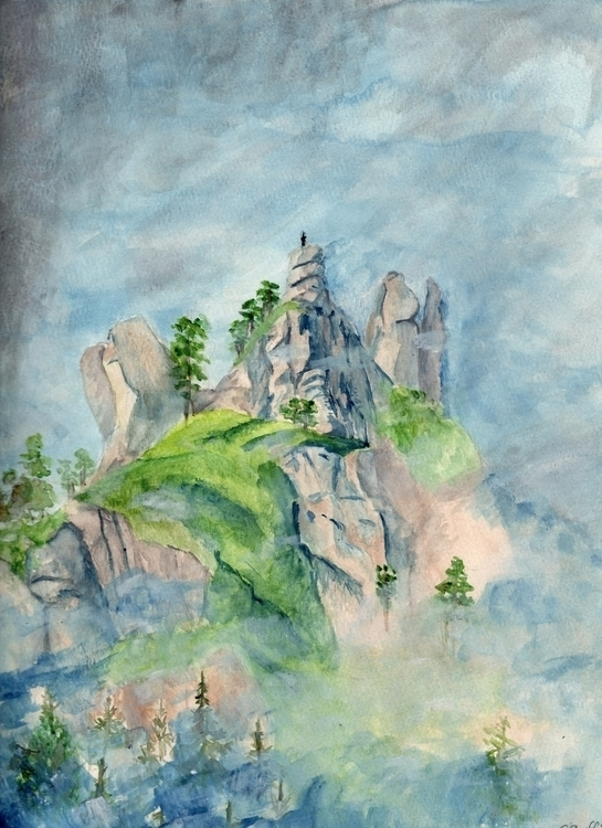 mist mountain - watercolor - landscape - giulianobuffi | ello