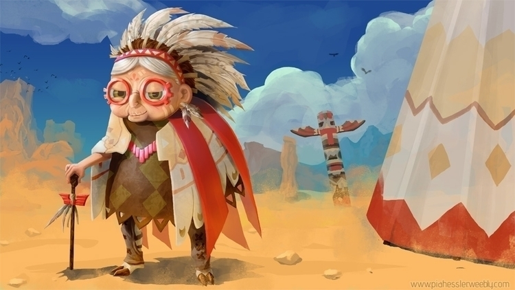 Native Granny - native, character - piahessler   ello