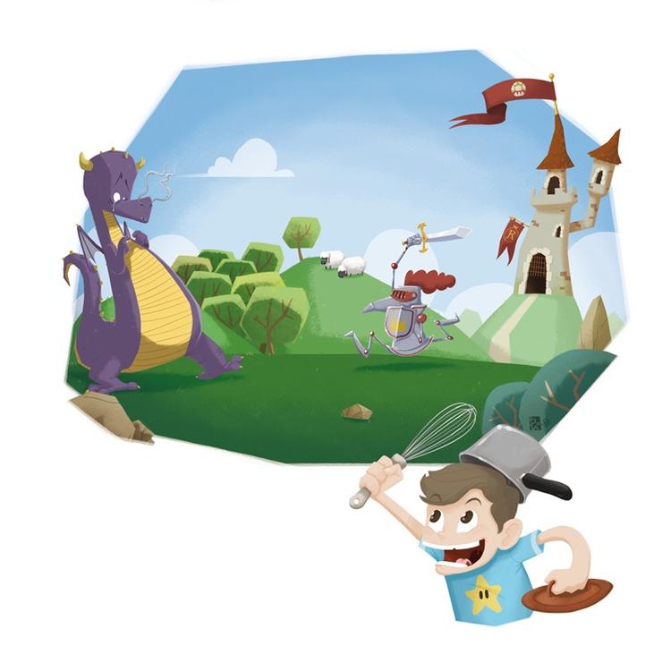 Illustration Donjon Dragon - illustration - madeinpao | ello
